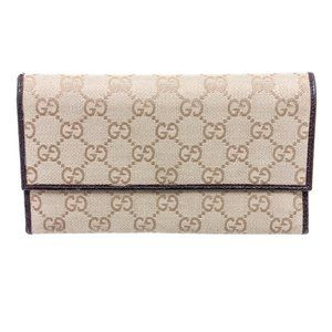 Gucci Beige GG Canvas Leather Flap Wallet